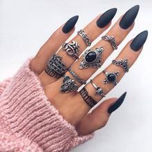 KMVEXO Bohemian Vintage Lotus Flower Cross Moon Ring Set For Women Black Crystal Midi Finger Rings 2020 Boho Party Jewelry Gifts