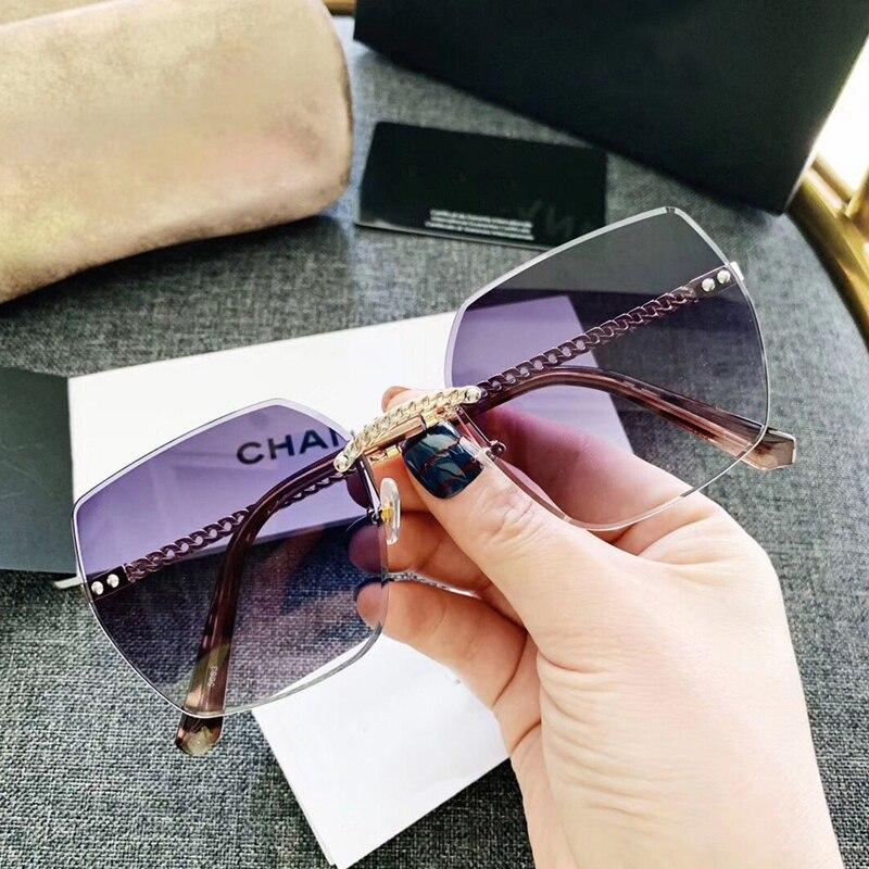 FEISHINI Fashion Black Gradient Sun Glasses Crystal Square Rimless Sunglasses Women Vintage Oversized Classic Brand Designer