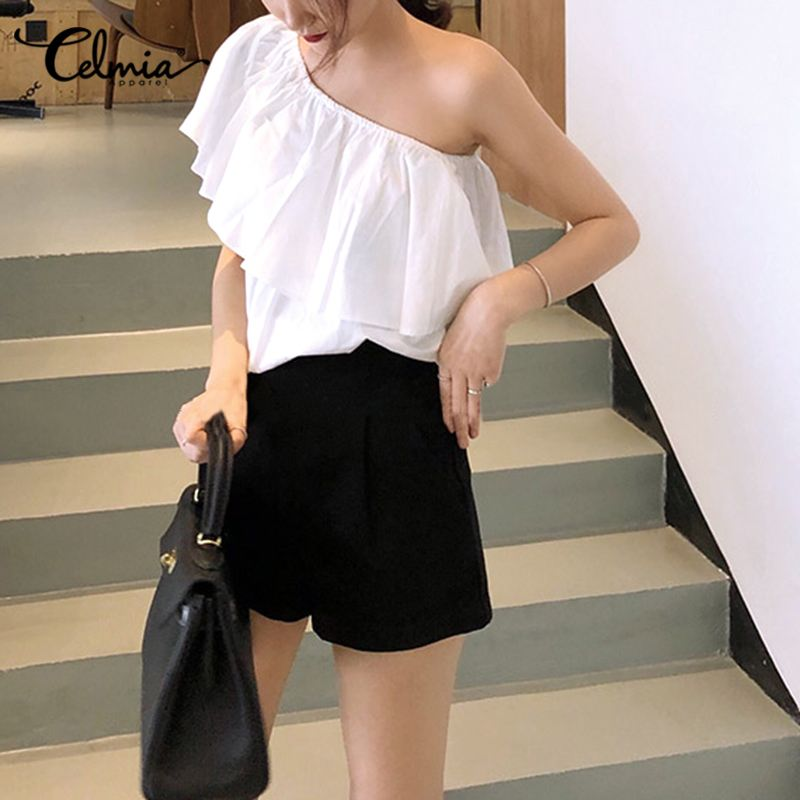 Fashion Ruffles Summer Solid Top Women Celmia Elegant Office One Shoulder Sleeveless Blouse Casual Loose Pleated Elastic Blusas