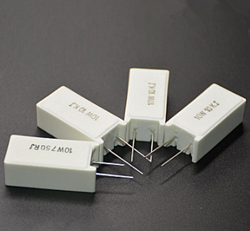 5Pcs SQM RX27-5 Vertical Cement Power Resistors 10W 10/12/15/20/22/30/39/47/51/100/150/200/300R Ohm Ceramic