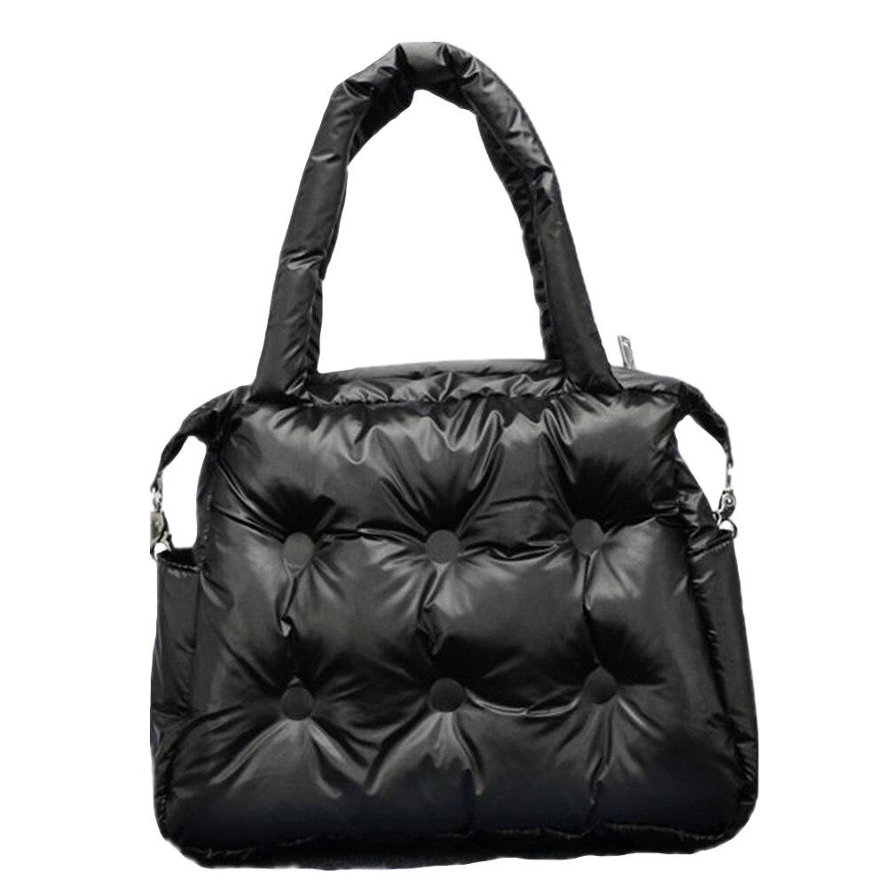 Hiver nouvelles femmes sacs à main espace coton tampon plume rembourrage rétro solide seau sac sac à main sacs à bandoulière fourre-tout sac de messager
