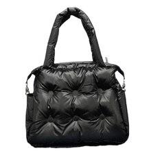 Zimowe nowe torebki damskie kosmiczna bawełna podkładka z piór wyściółka Retro wytrzymała torba torebka na ramię torba na ramię
