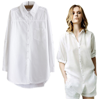Women Blouse Shirt 2020 Summer Long Sleeve White Office Ladies 100% Cotton Casual Fashion Blusas