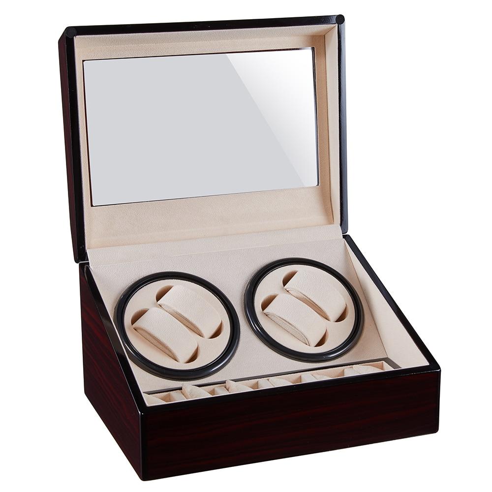 Automatique montre remontoir boîte en bois 4 + 6 montres remontage boîte de rangement Collection support affichage Double tête silencieux moteur secouer boîte