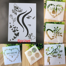 Girl Butterfly Layering Stencils For Walls Painting Scrapbooking Stamps Album Decorative Embossing Paper Cards DIY Craft Tools free shipping different layering stencils painting template stamps for diy scrapbooking photo album cards decorative embossing