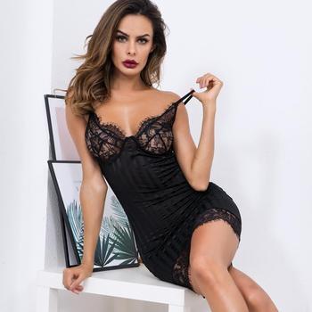 Minivestido sexy en blanco y negro, Burdeos, para mujer, de encaje, con retazos finos, vestido combinado 2019 transparente