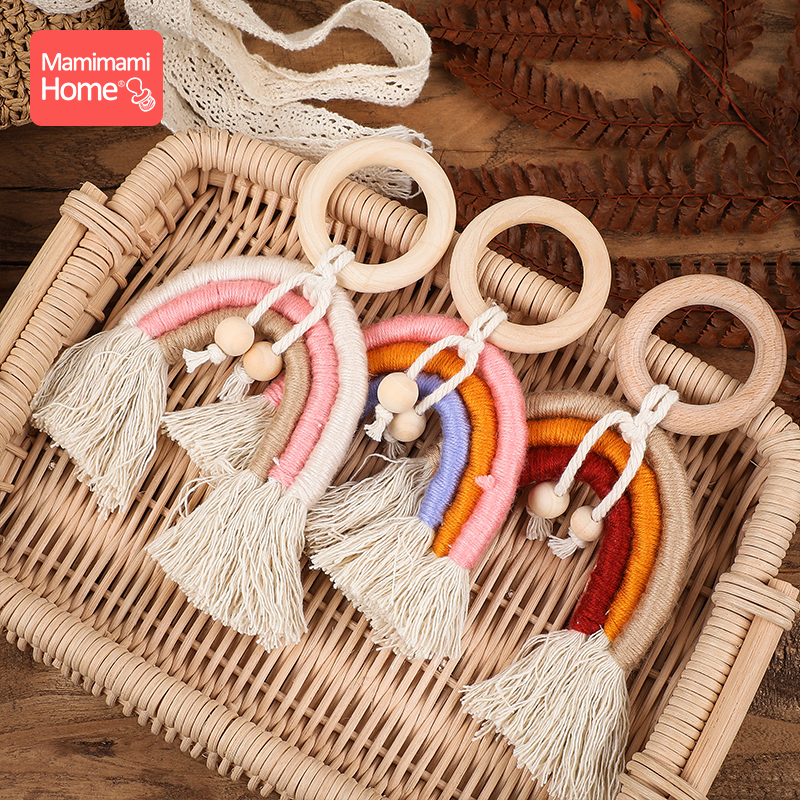 1pc Baby Teether Tassel Pacifier Chain Pendant Wooden Blank Ring Toys Gym Play Children'S Goods Newborn Nurse Gifts Wooden Beads
