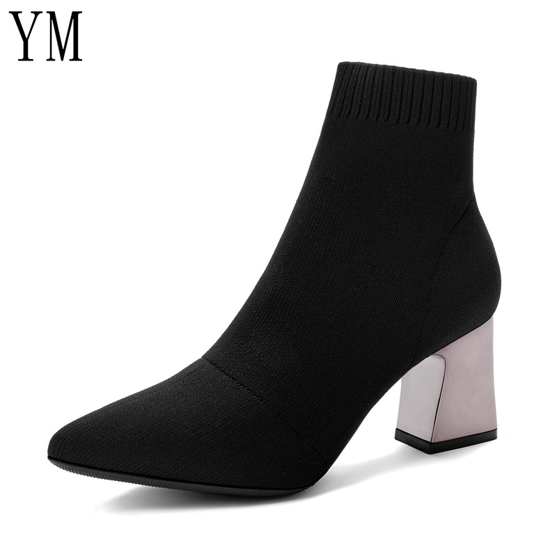 2020 Women Boots Strange Style Thick High Heels Autumn Winter Female Short Fashion Stretch Lycra Sock Shoes Woman Martin Boots