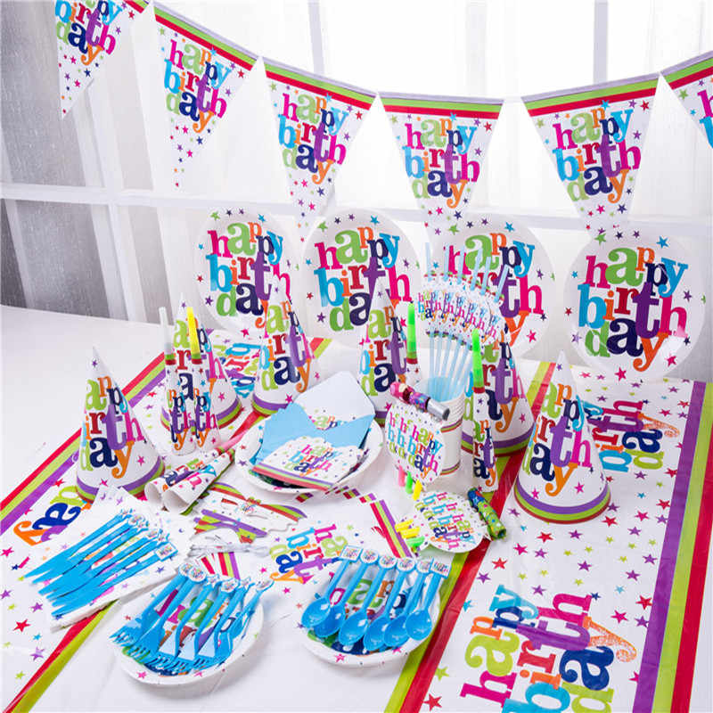 Happy Birthday Theme Party Supplies Birthday Party Decorations Kids Disposable Tableware Banner Paper Plate Straws Baby Shower