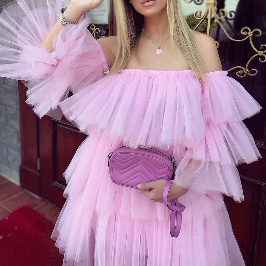 Tiered Tulle Dress 2020 Cute Short Prom Gown Girls Cocktail Party Dresses With Detachable Sleeves Ballgown Women Wear Clothes