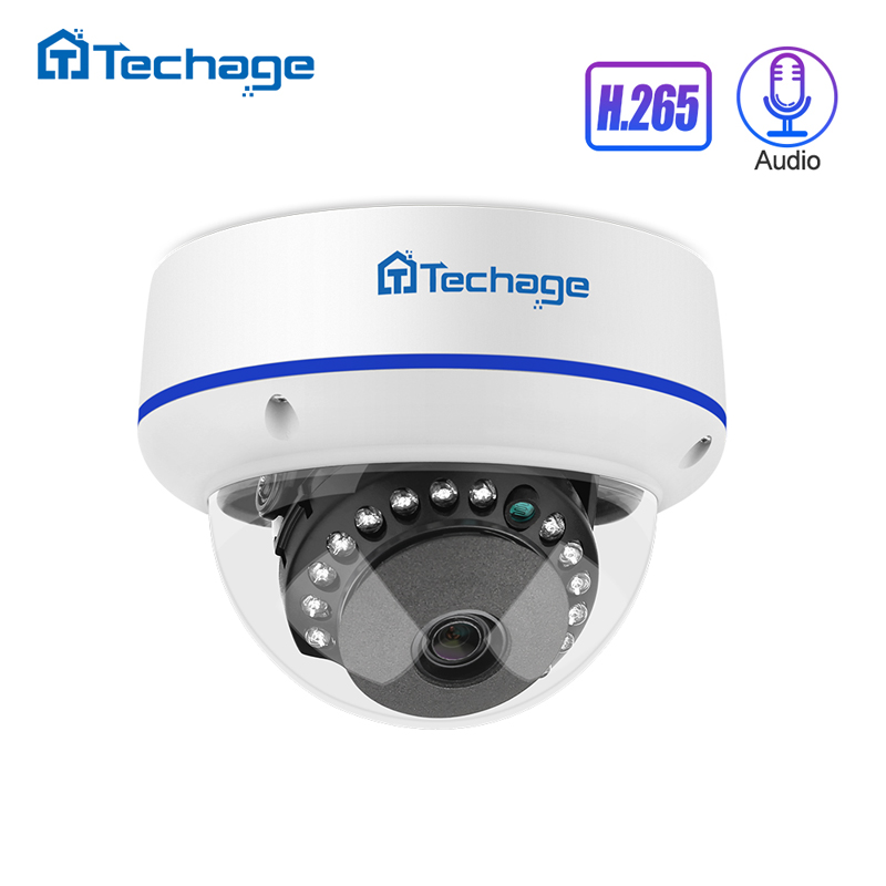 Techage H.265 1080P 2MP 4MP 5MP Indoor Dome 48V POE IP Camera Audio VandalProof IPC P2P Onvif Video CCTV Security Surveillance