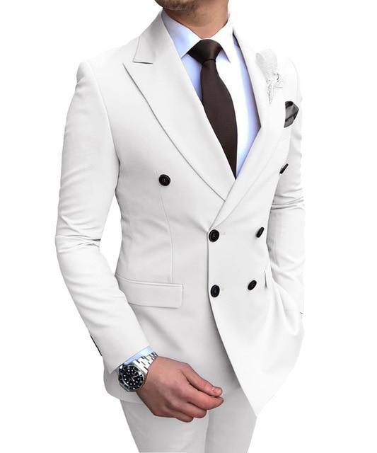 2019 جديد البيج الرجال دعوى 2 قطعة مزدوجة الصدر الشق التلبيب شقة سليم صالح عارضة البدلات الرسمية الزفاف (سترة + السراويل)