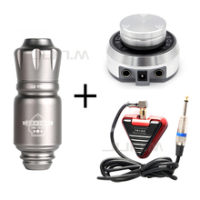 Complete Professional Tattoo Machine Set Rocket Mini Automatic Pen Silver Color Power Supply Triangle Foot Pedal
