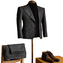 Men Suits Tailored Tweed Lapel Wool Vintage 2piece Winter Fit Regular Dark-Gray Two-Button-Blend