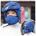 Детские зимние шапки-бомберы, Балаклава, маска, теплая ветрозащитная флисовая шапка с подкладкой, шапка-ушанка для мальчиков и девочек, лыжн...