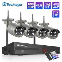 Sistema de videovigilancia H.265, 8 canales, 1080P, Kit NVR inalámbrico, sonido de Audio, 2MP, exterior, WiFi, cámara IP, P2P, 2TB, HDD