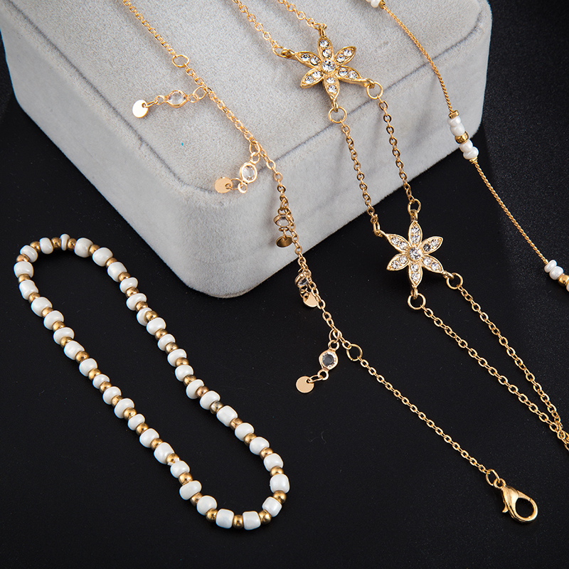 Bohemian jewelry Fashion Gold Chain Ankle Bracelet for Women Star Pendant Handmade Chain Anklet 4pcs/Lot Foot Jewellry 4