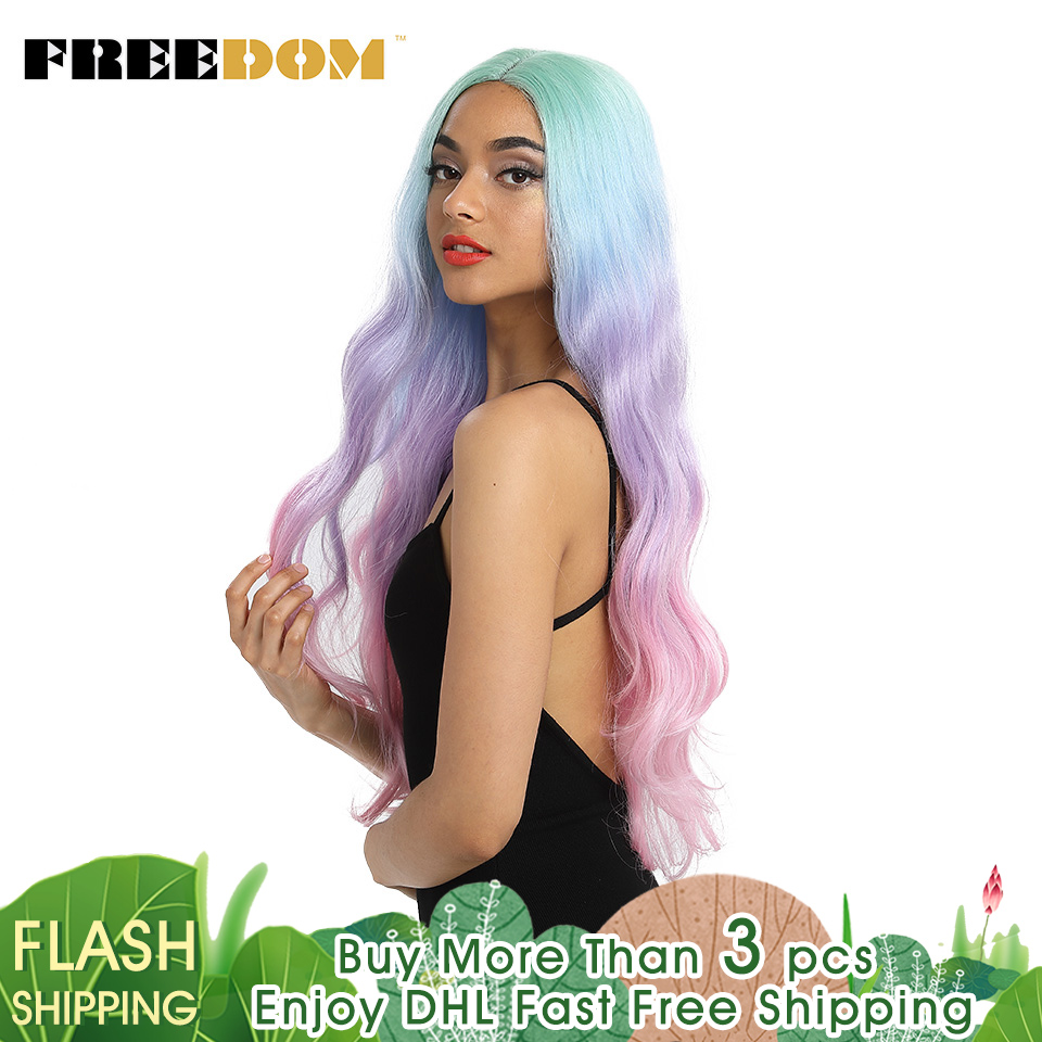 FREEDOM Wigs Long Heat-Resistant-Fiber Lace-Front Rainbow-Color Natural-Wave Pink 30inch-Omber title=