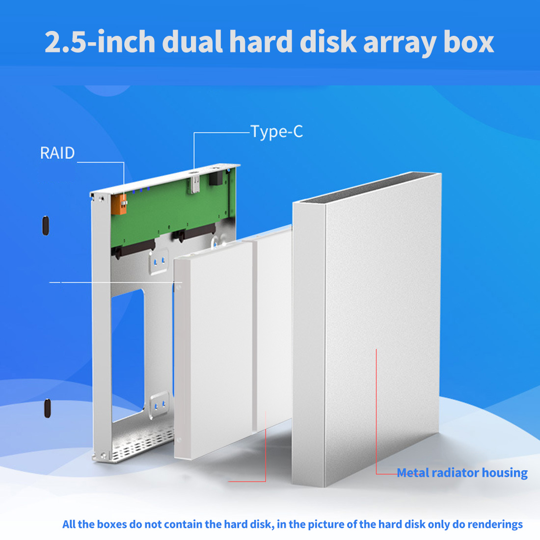 HDD <font><b>Enclosure</b></font> 2 Bay <font><b>2.5</b></font> inch 10Gbps USB 3.0 / Type C <font><b>Raid</b></font> 4 Modes for Windows Mac Linux 20TB External SATA Hard Drive Array Box image