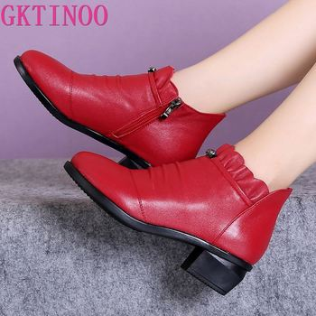 GKTINOO Fashion Women Boots Autumn Boots Genuine Leather Ankle Boots 2020 Winter Warm Fur Plush Women Shoes Big Size 43 genuine leather women ankle boots 2016 new winter autumn warm fur shoes plus size 35 46 work safety boots