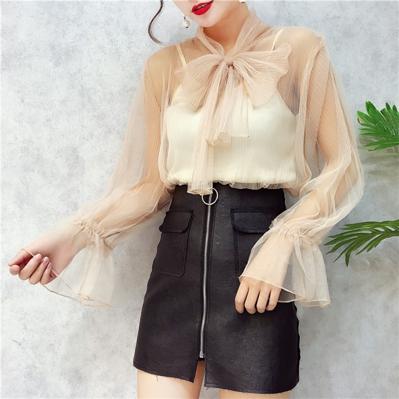 <font><b>Women</b></font> Vintage Sexy Transparent Bow Tied Collar Casual Black <font><b>Organza</b></font> <font><b>Blouse</b></font> Shirt <font><b>Women</b></font> Business Feminina Blusas Chic Tops image