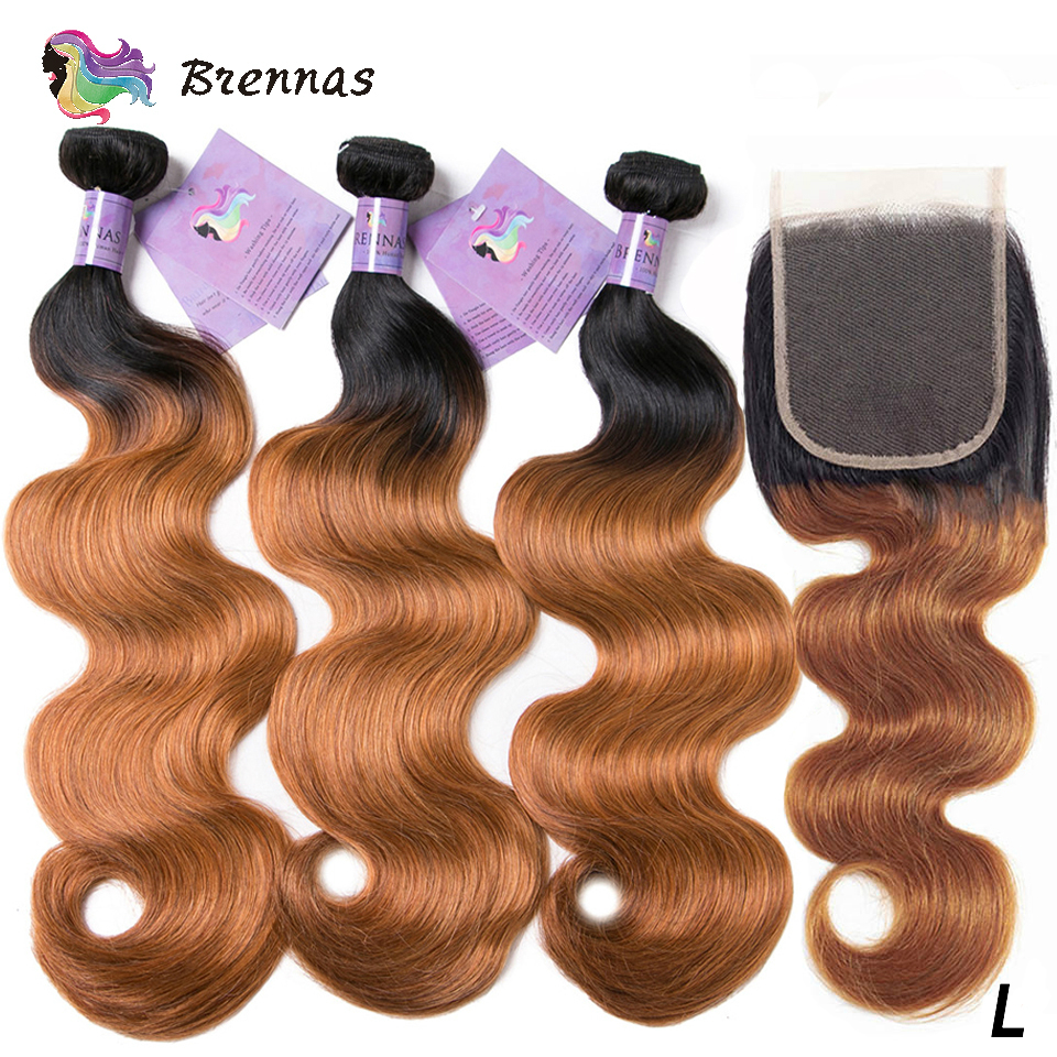 Ombre1b 27 Body Wave Human Hair Bundles With Closure Non-Remy Hair Weave With 4x4 Closure 100% Brazilian Human Hair Low Ratio