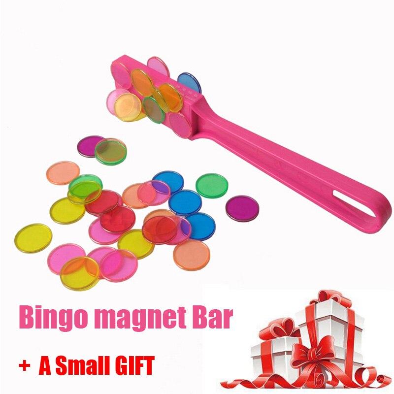 Azulejos de palo magnético con bucle de metal 100 piezas bebé juguete educativo montessori juguetes de aprendizaje juego de chips de Bingo con redondo transparente