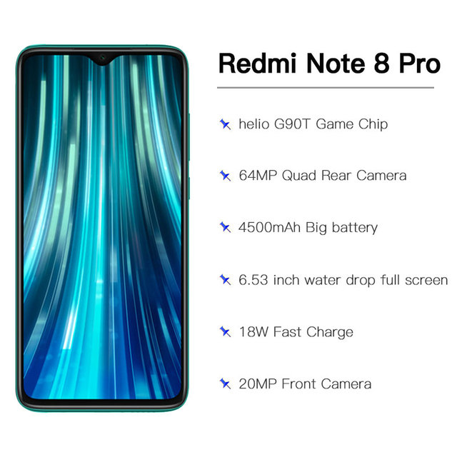 "Global ROM original Xiaomi Redmi Note 8 pro 6GB 128GB MTK Helio G90T Smartphone 4500mAh 64MP Quad Rear Camera  6.53"" 18W"