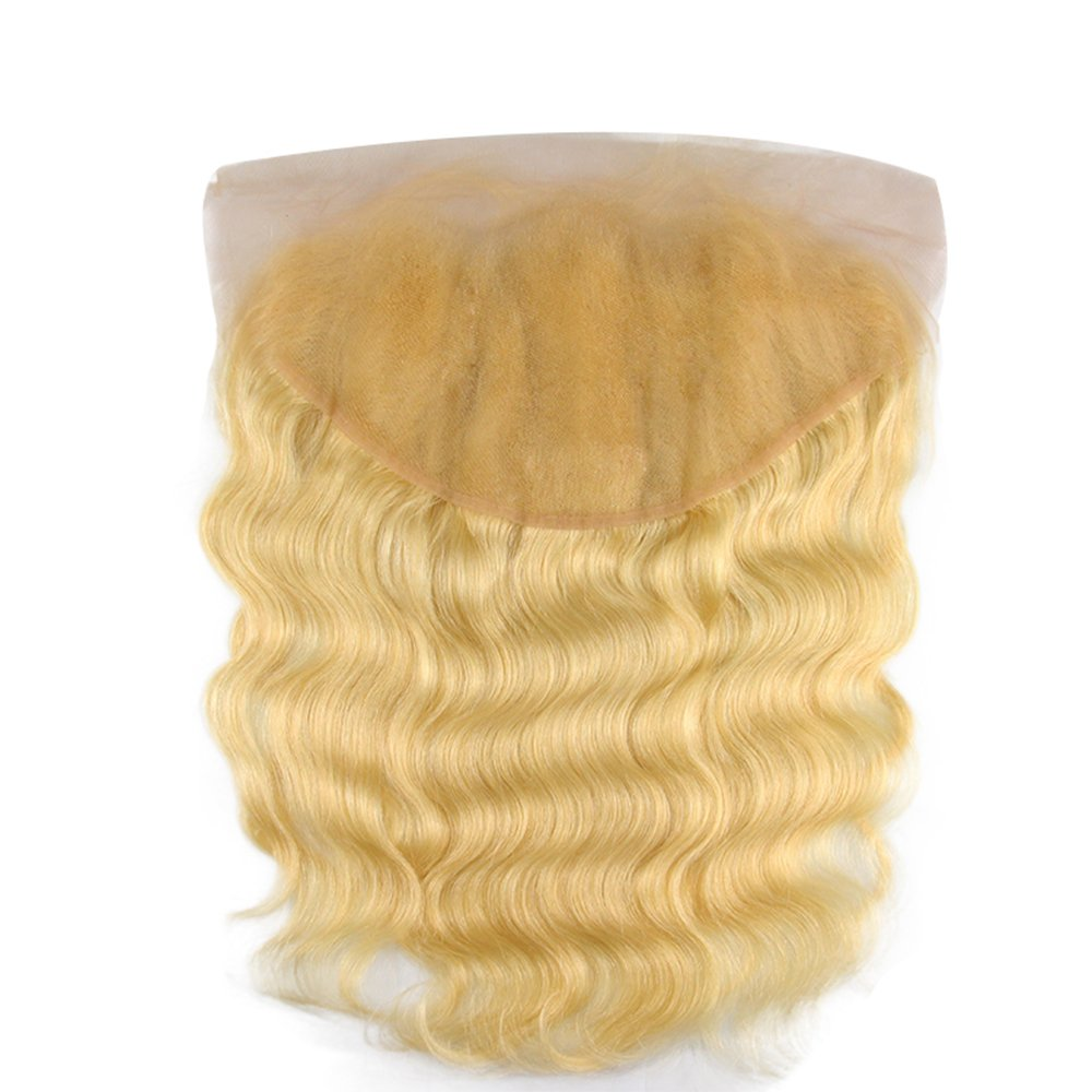 613 Lace Frontal 13x6 Ear To Ear Blonde Frontal Closure Human Hair Peruvian Remy Hair Free Part Body Wave Baby Hair Pre Plucked