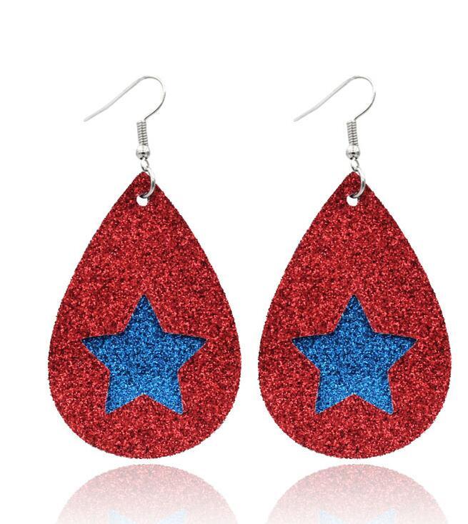 Boho Red Green Glitter Christmas Tree Earrings Trendy Faux Leather Earrings For Women Earing Christmas Jewelry Accesorios