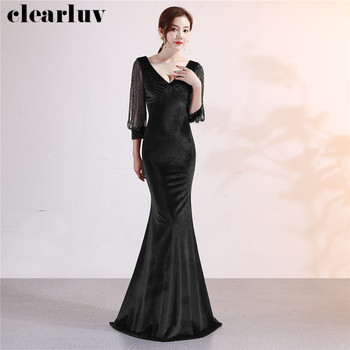 Velour Evening Dress Beading Plus Size Women Party Gowns DX304-4 Black Robe De Soiree Mermaid Three Quarter Sleeve Formal Dress