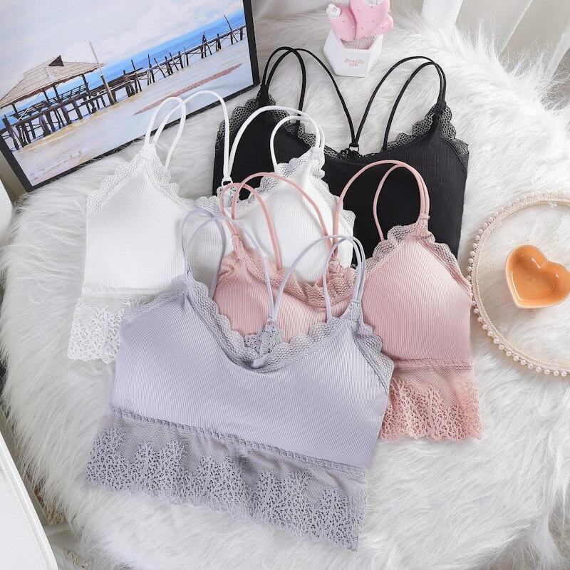 Linbaiway Wireless Bhs für Frauen Dessous Cross Strap Sexy Bralette Push-up Bh Plus Size Straps Backless Spitze Büstenhalter Femme