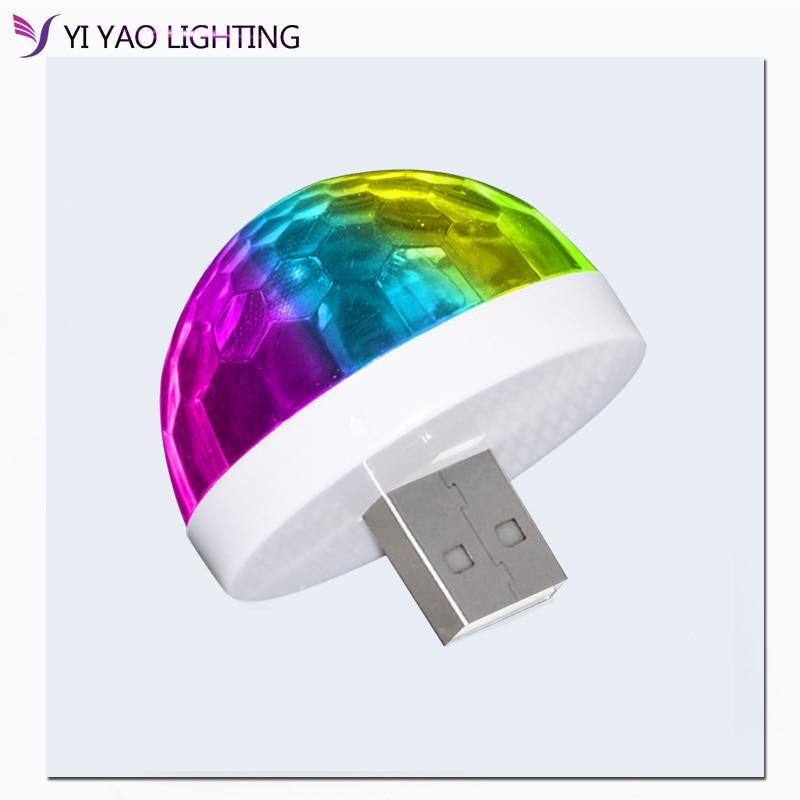 USB Mini Disco Stage Lights For Xmas Party DJ Karaoke Car Decor Lamp Cellphone Music Control Crystal Magic Ball Colorful Light