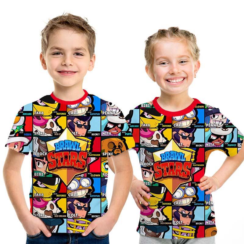 New 2019 Summer Shooting Game T Shirt Children 3D Print Brawl Stars T-shirt Fashion Cartoon Streetwear Boys And Girls Tshirt