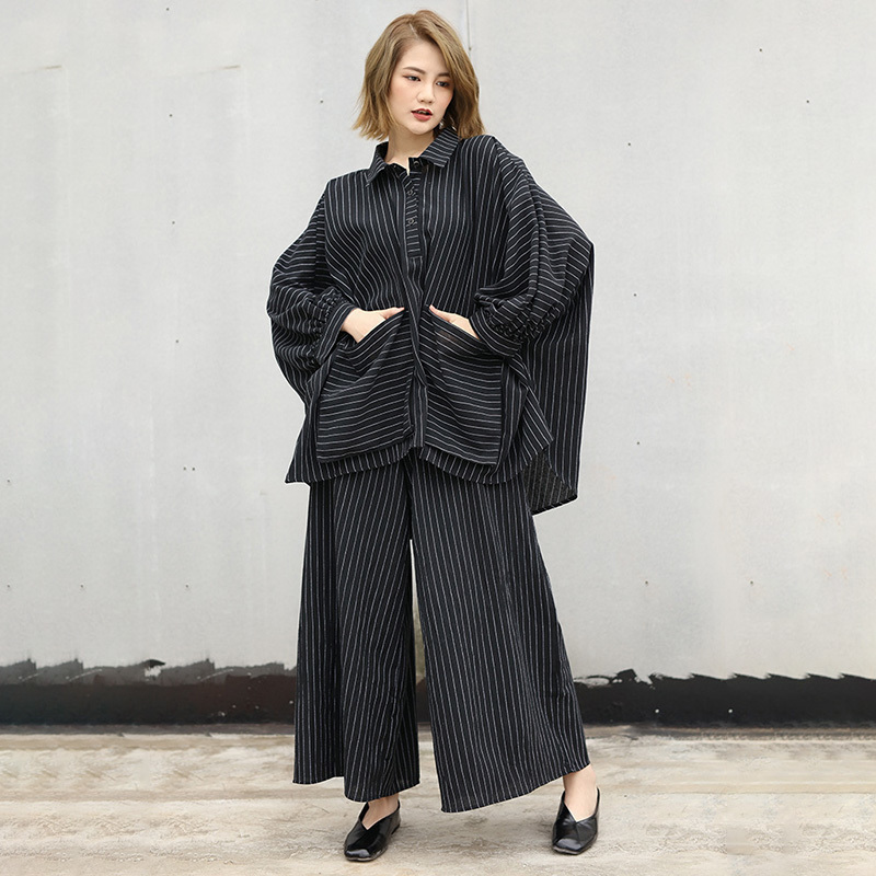 LANMREM 2020 New Spring Fashion Striped Patchwork Batwing Sleeve Irregular Shirt And Loose Wide Leg Pants Two Pieces Set SA95501