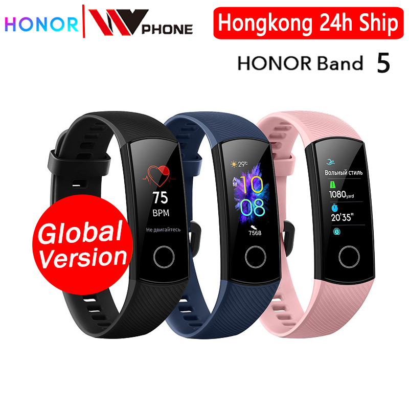 Global Version Honor Band 5 Smart Band AMOLED Heart Rate Fitness Sleep Swimming Sport Blood Oxygen Tracker
