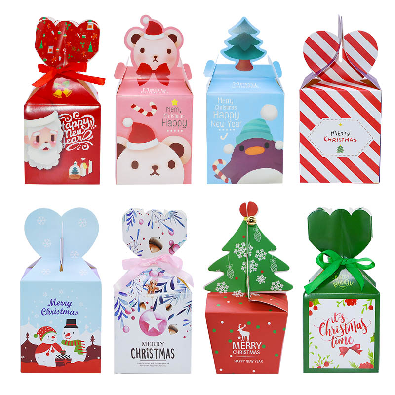 5pcs Christmas Paper Gift Box Bags Navidad Christmas Decorations For Home Natal Candy Plastic Bag Kerst New Year Supplies Noel
