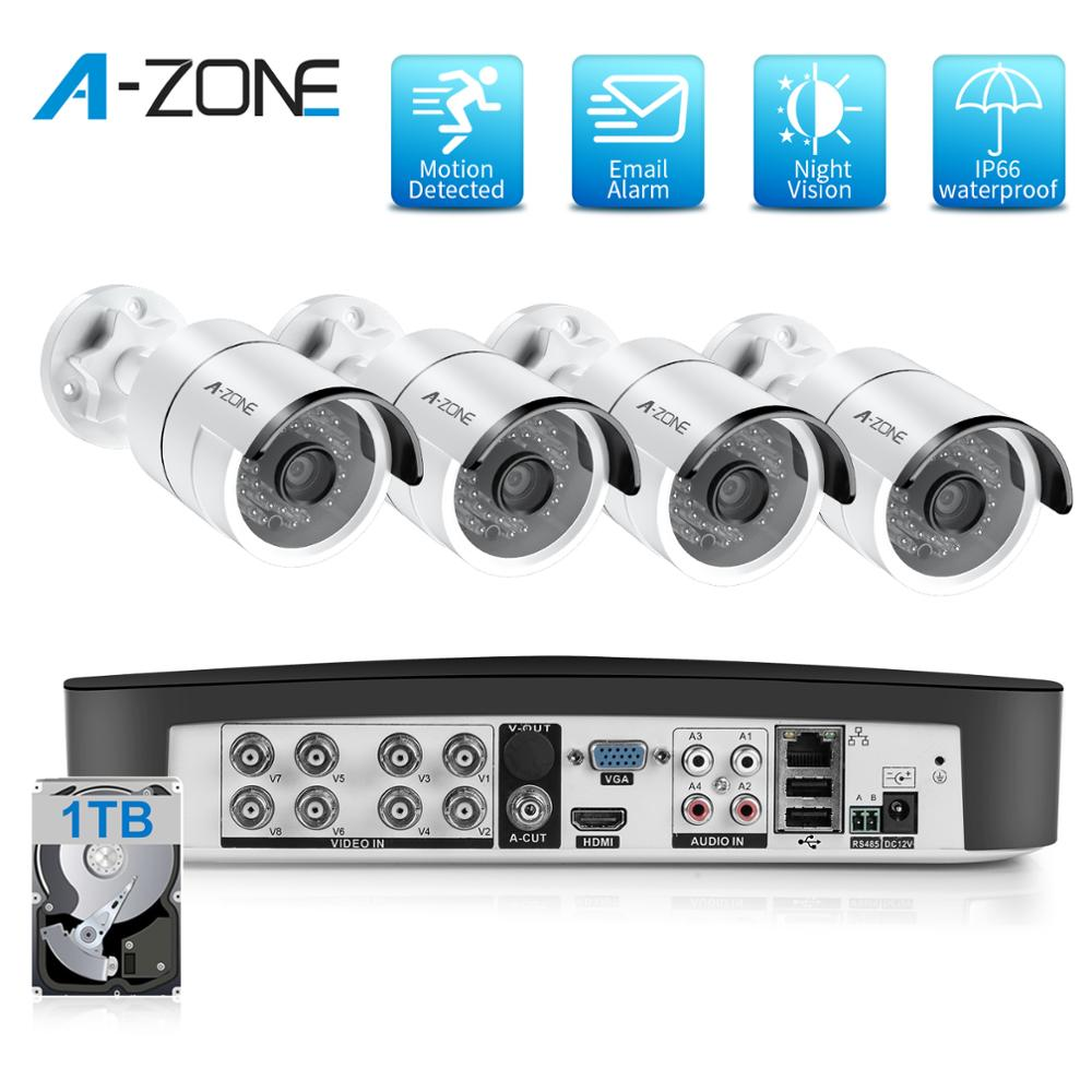 Home Security Camera System Video Surveillance Kit CCTV 8CH 1080P 4PCS Outdoor AHD Bewakingscamera Waterproof Street Camera