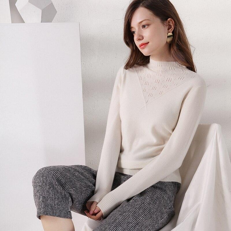 LHZSYY 2019 automne hiver nouvelles femmes demi-haut col 100% laine pull mode court tricoté cachemire chaud fond femme chemise