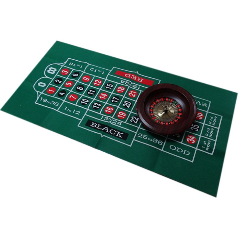 Double-sided Game Tablecloth Russian Roulette & Blackjack Gambling Table Mat Y4UB
