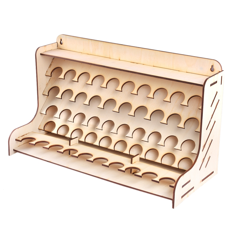 50 Hole Wooden Pigment Bottles Storage Organizer Color Paints Stand Rack Holder Drawing Storage Tool