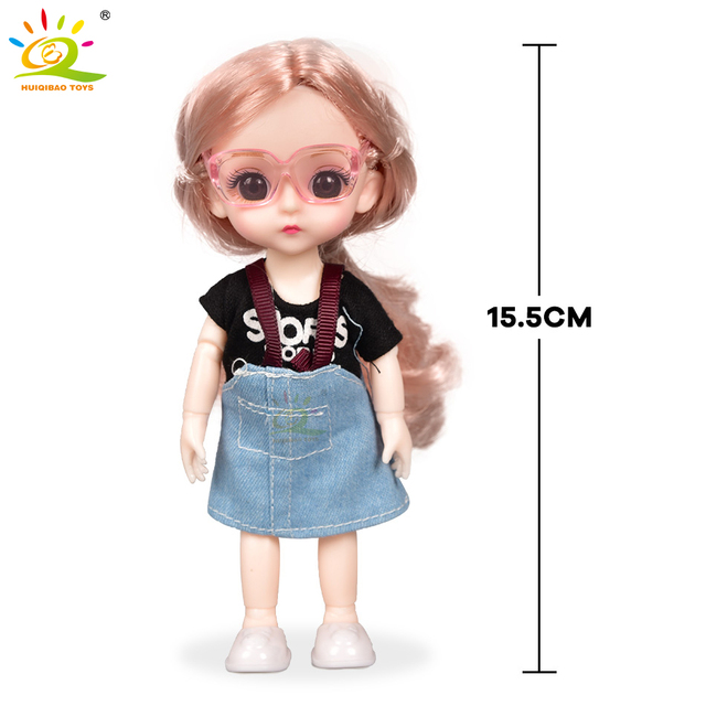 6inch Princess Girl Doll bjd Boneca Dolls normal/joint body Ball Jointed Reborn Glasses Dolls Toys Clothes Shoes Gift For Girls 5