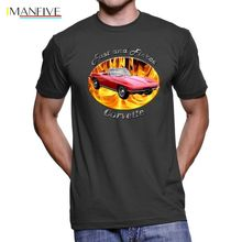 2019 New Summer Fashion Men Tee Shirt Chevy Corvette Sting Ray Fast And Fierce Men`s Dark T-Shirt