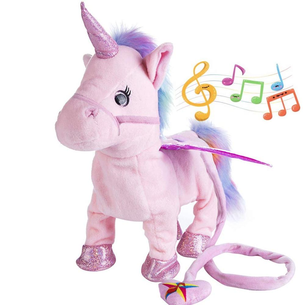 Interactive Animated Electric Walking Unicorn Plush Toy Electronic Music Unicorn Toy For Children Christmas Gifts