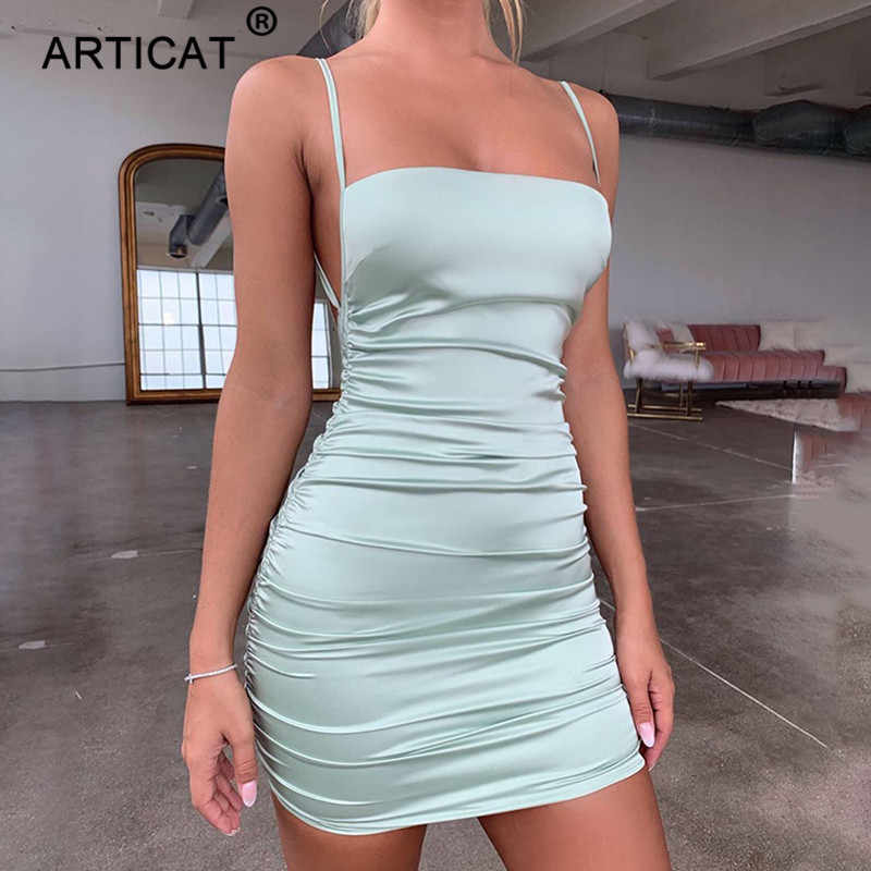 Articat Spaghetti Strap Mini Satijnen Jurk Vrouwen Sexy Backless Cross Bandage Bodycon Party Dress Plisse Stretch Korte Club Jurk