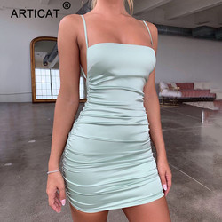 Articat Spaghetti Strap Mini Satin Dress Women Sexy Backless Cross Bandage Bodycon Party Dress Pleated Stretch Short Club Dress