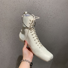 Mental Ring Women Ankle Boots Fashion Square Toe Lace Up Women Genuine Leather Shoes For Winter Boots Shoes Causal Shoes Woman цены онлайн