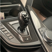 Real Carbon Fiber Console Gearshift Knob Head Cover Decorative Sticker For BMW M2 M3 M4 X5M X6M Interior Accessories
