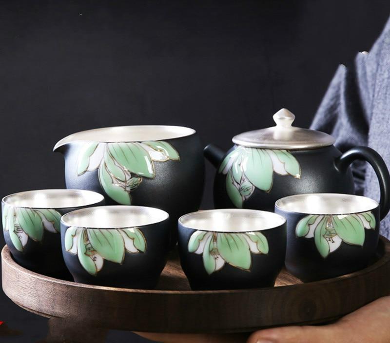 Kung Fu Tea Set Home Built Porcelain Silver Set Ceramic Teapot Lid Bowl Tea Set Gift Box Gift