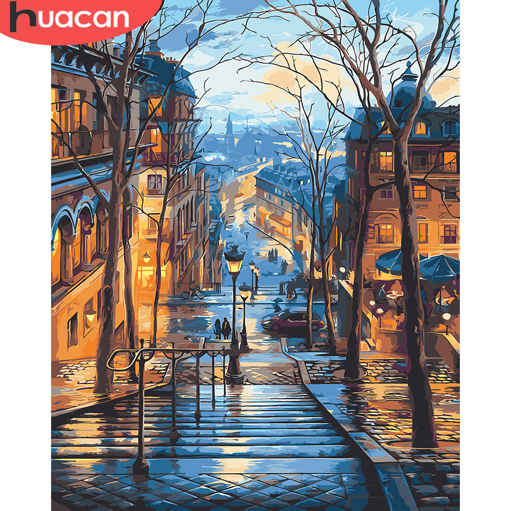 HUACAN Canvas Paint Art-Pictures Oil-Coloring By Numbers Street-Landscape Home-Decor